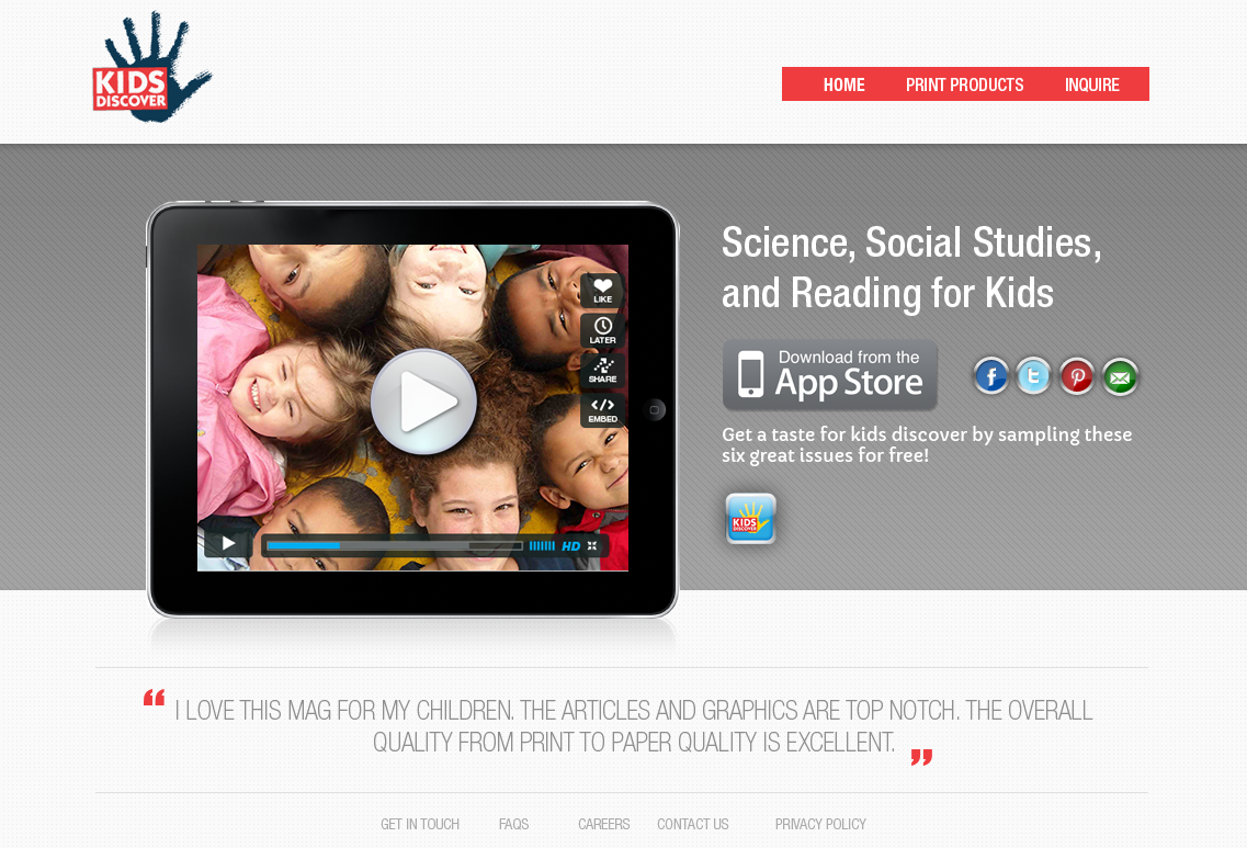 Landing Page for Kids Discover Apps