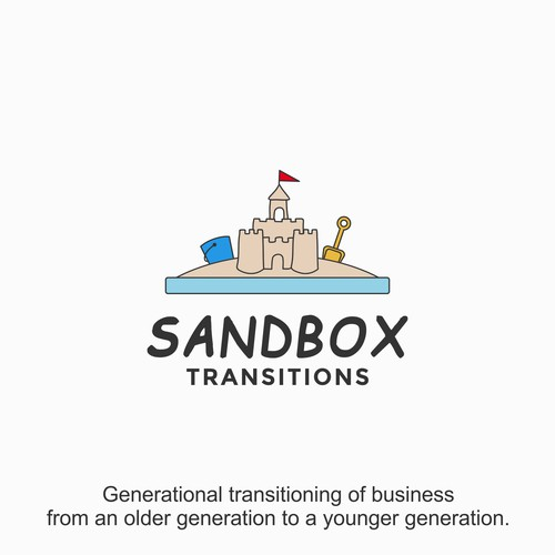 playful and cartoonish logo for Sandbox Transitions.