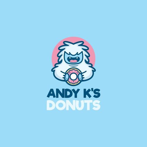 Funny yeti for donut company