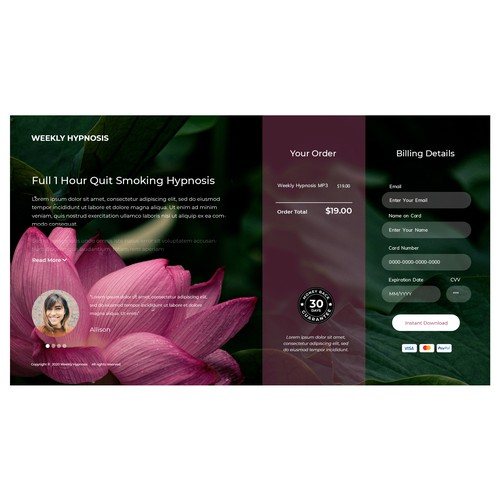 Landing Page for a Hypnosis MP3 Download