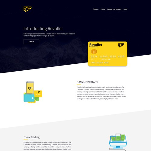 E wallet web design