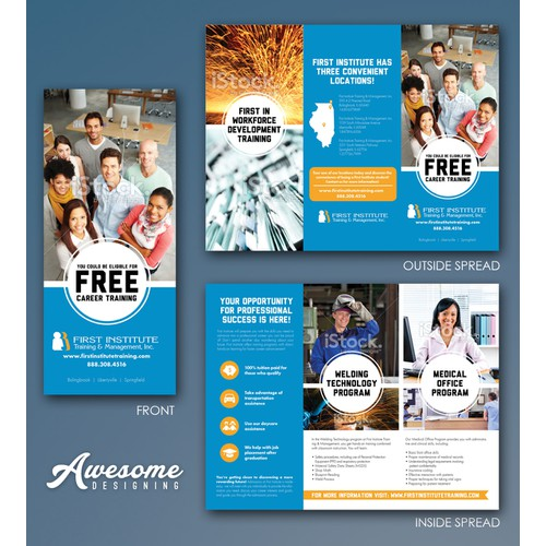 Create a flyer captivating 18-21 year olds in healthcare office careers and welding careers