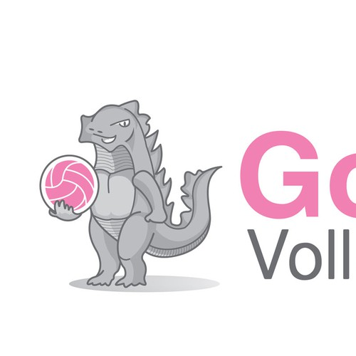 Create a logo for Godzilla Volleyball Club -- simple, professional and of course cute (but manacing)