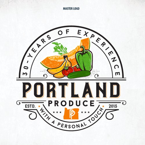 "Bold logo concept for ""Portland Produce Co."""