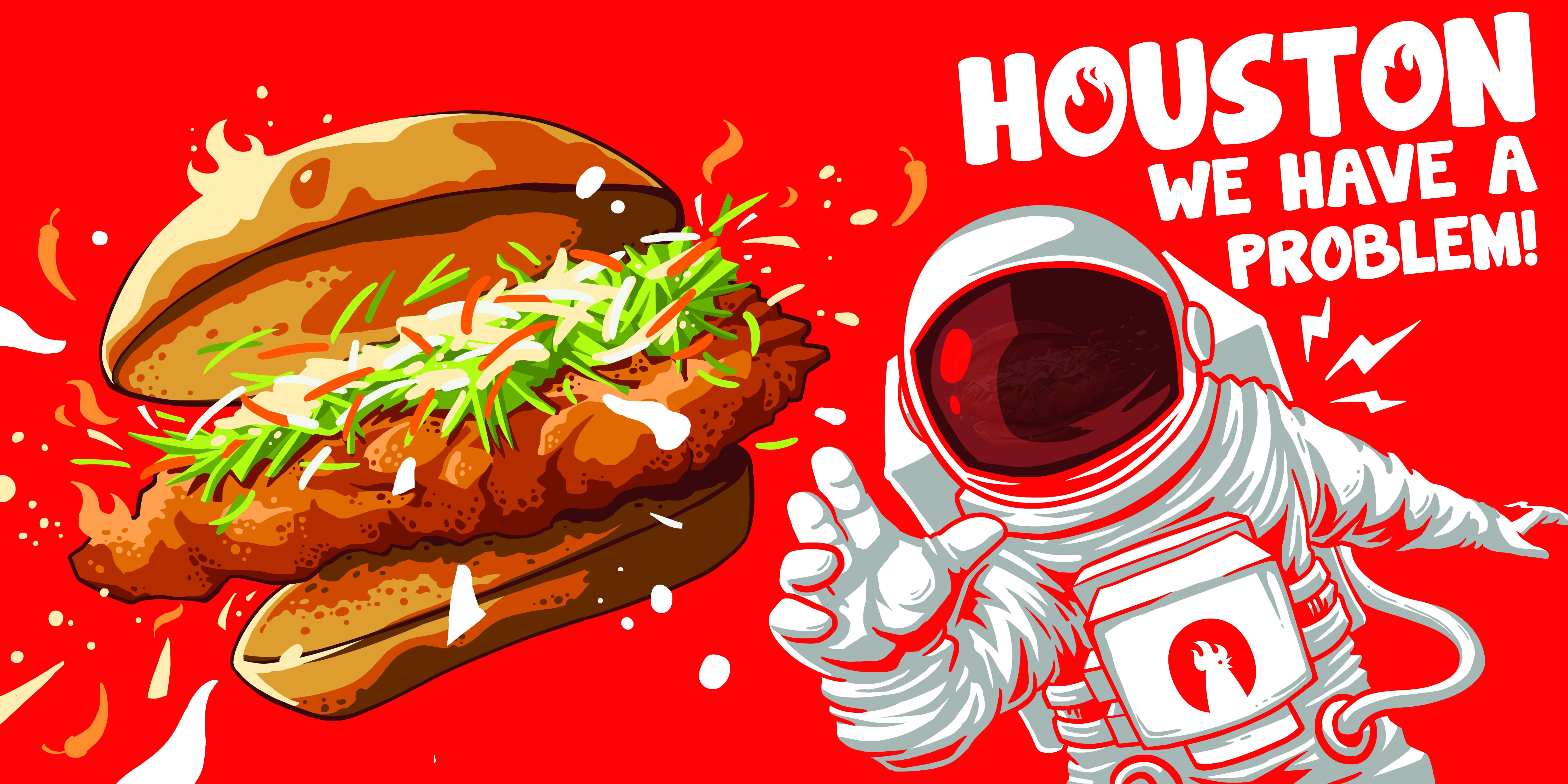 Fun billboard needed for restaurant that shows an astronaut pictured with a chicken sandwich