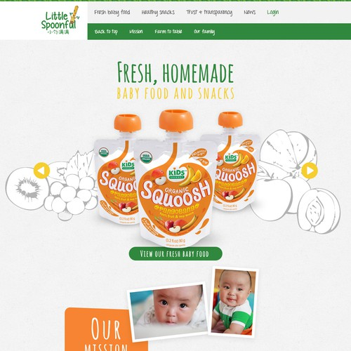 Clean, crisp design for a natural baby food producer