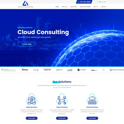 Web Page Design for Trace Advisors
