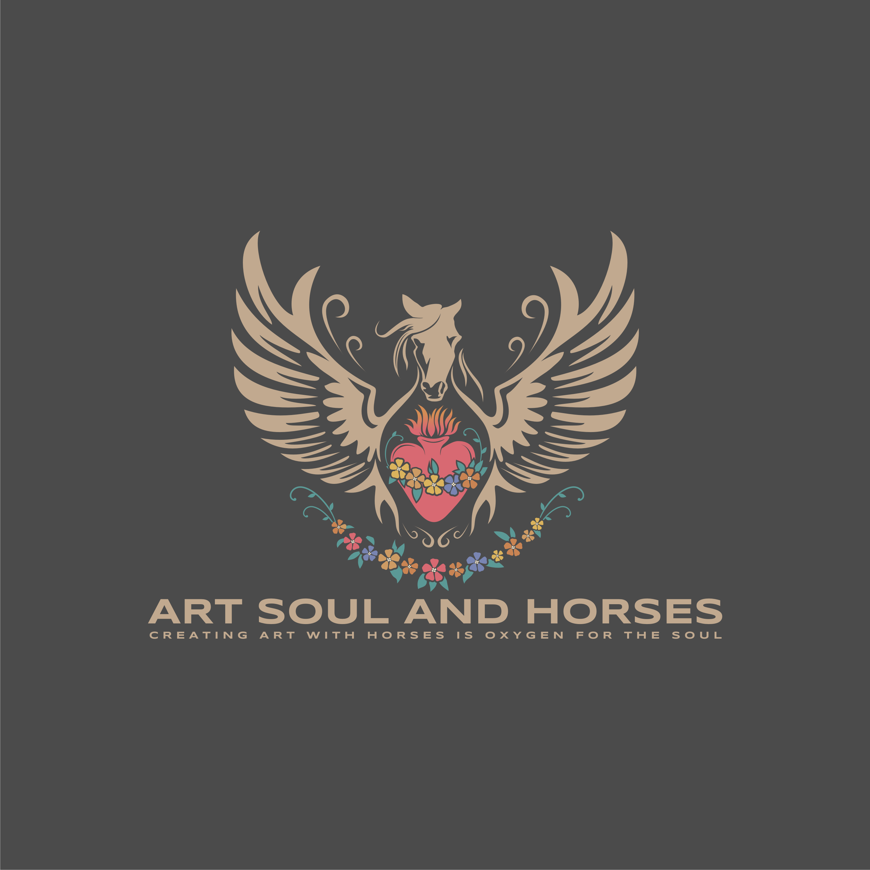 Create a vintage style sacred heart logo with winged horse