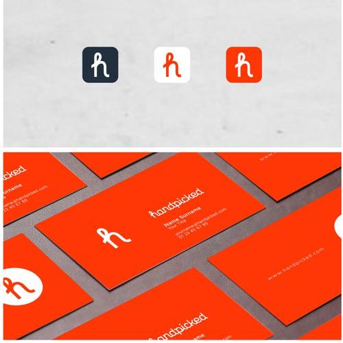 clean logo design for handpicked - a fresh online publication