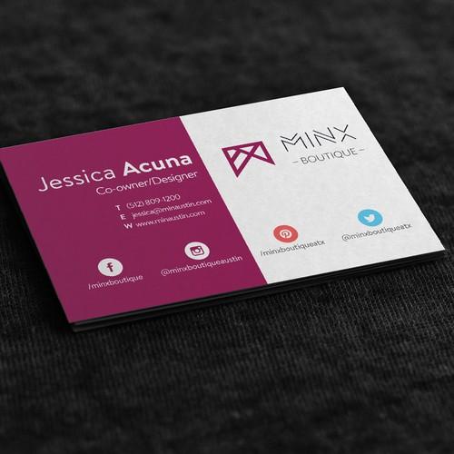 Business card concept for Minx Boutique