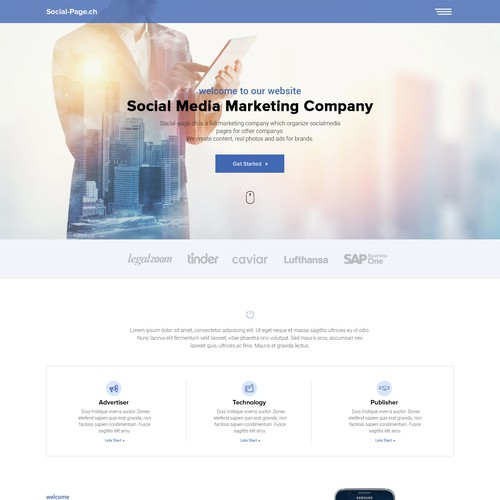 Website design for Socialpage.ch
