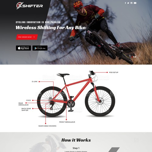 Design landing page for new cycling product