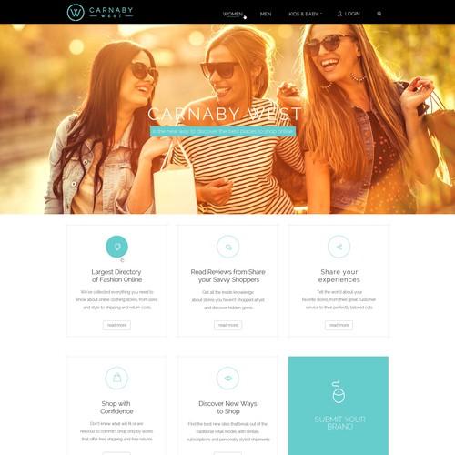 Flat, Modern Web Page Design for a E-Commerce Fashion Company