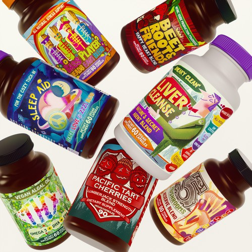 Various labels of dietary supplements for the Hippie Farms