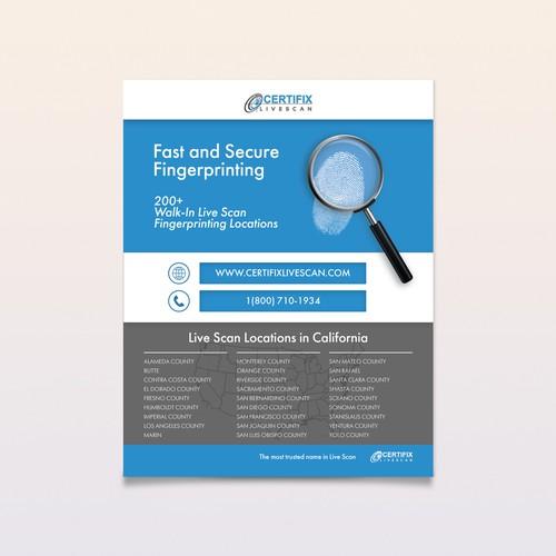 Flyer design for fingerprinting company