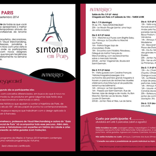E-flyer for a differente tour to Paris