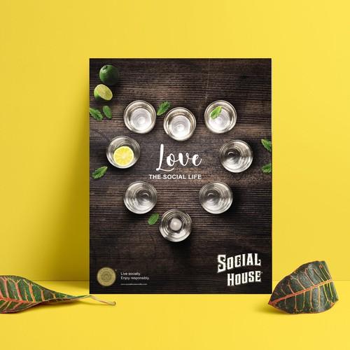 Magazine ad design for Social House Vodka
