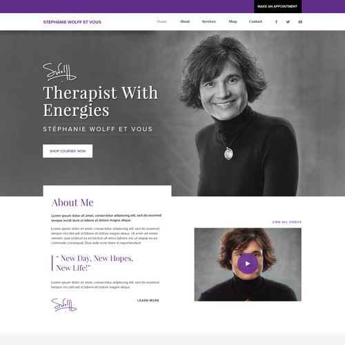 Homepage design for a Mind therapist
