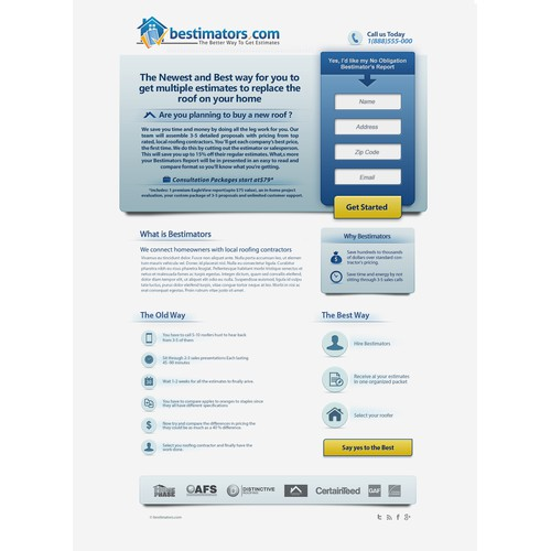 landing page for Bestimators.com