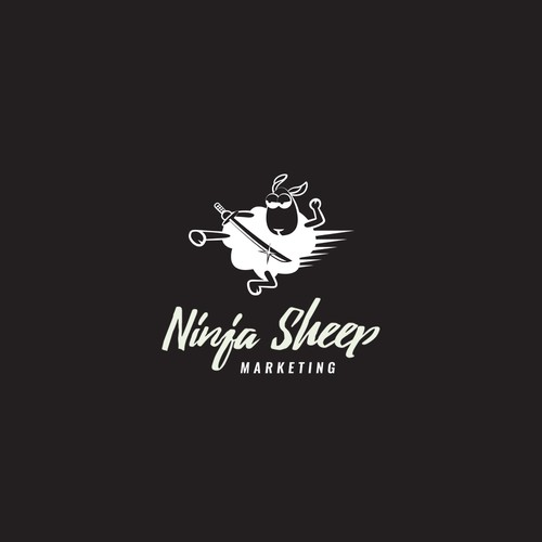 Playful logo for Ninja Sheep Marketing