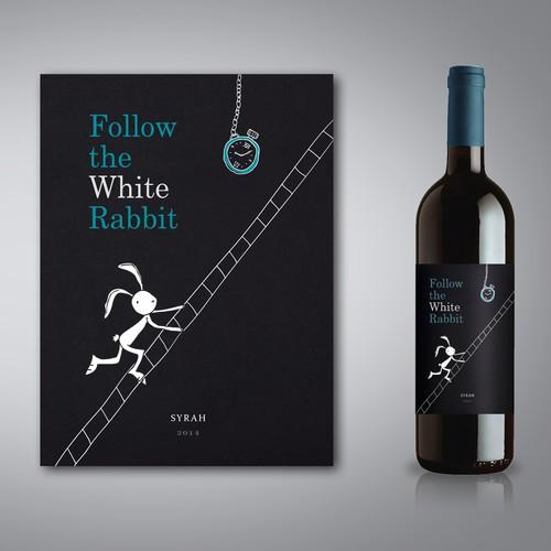 Follow the White Rabbit Wine Label