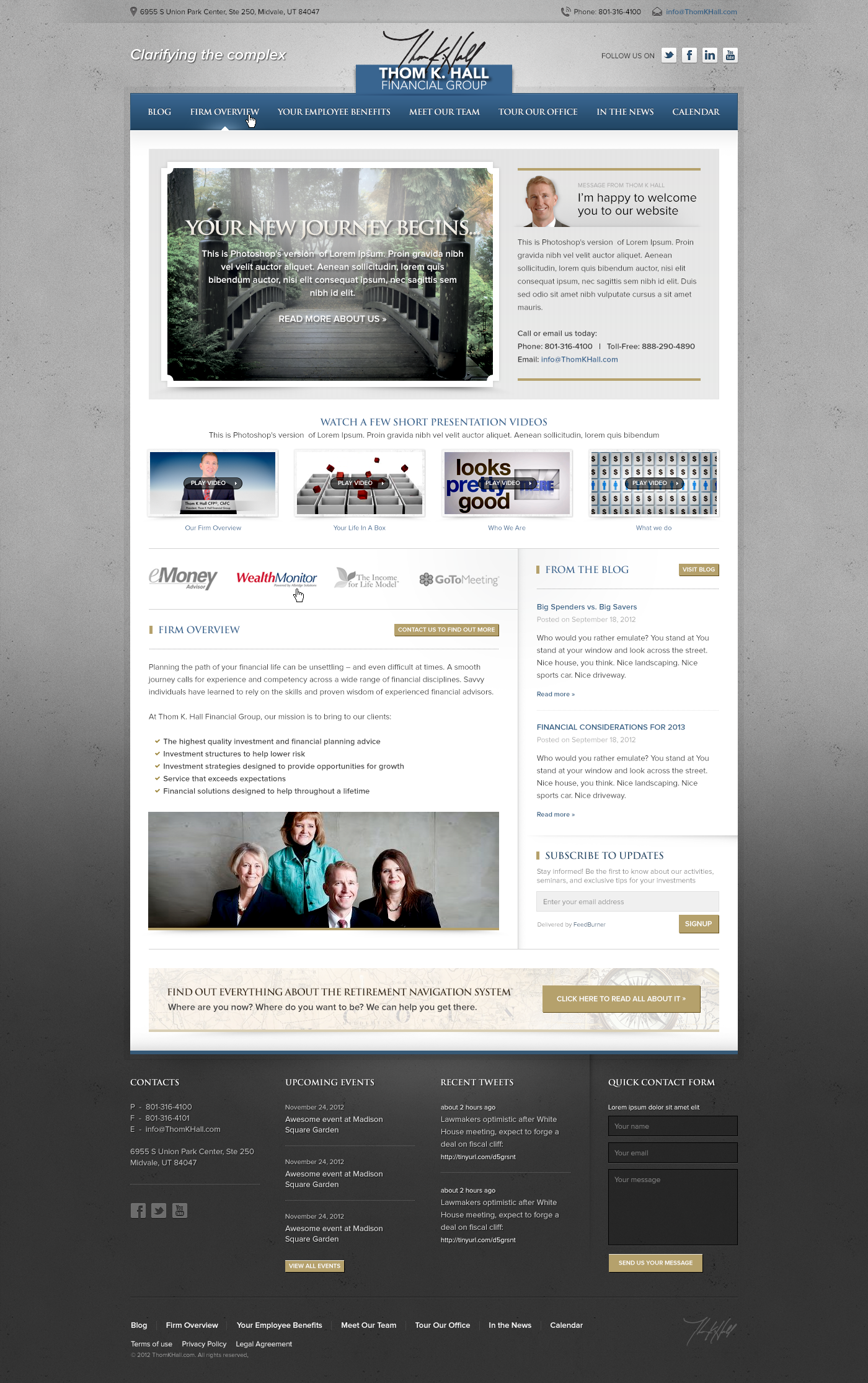 Thom K. Hall Financial Group needs a new website design