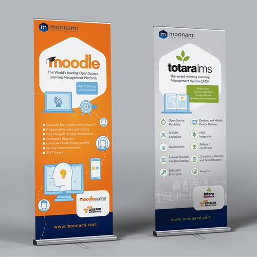 Roll up display for E-learning company
