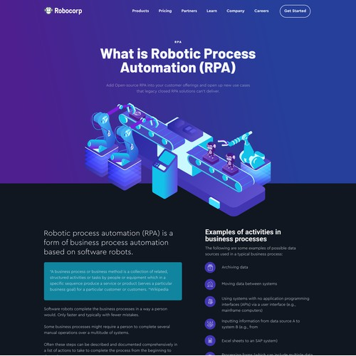 Robot automation landing page