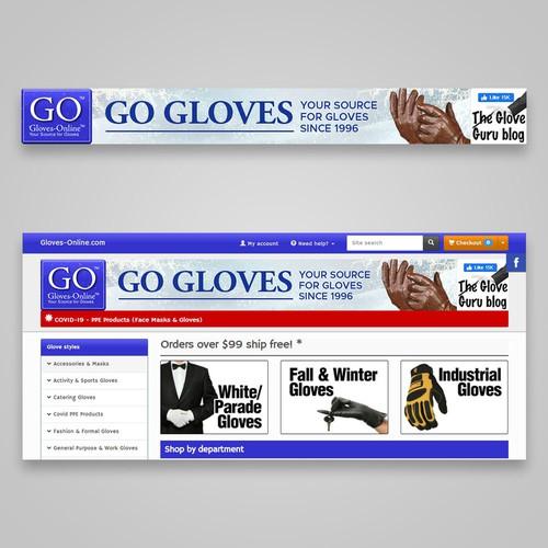 """Modern Website Banner for """"GO GLOVES"""""""