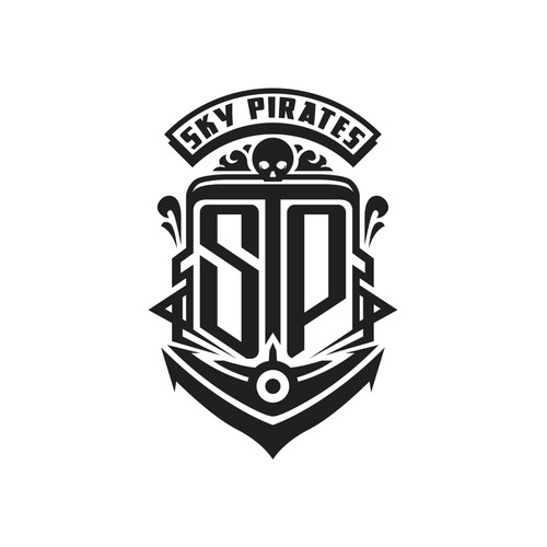 A logo capturing a tasteof art deco  and swashbuckler with a hint of steam punk feel for Sky Pirates