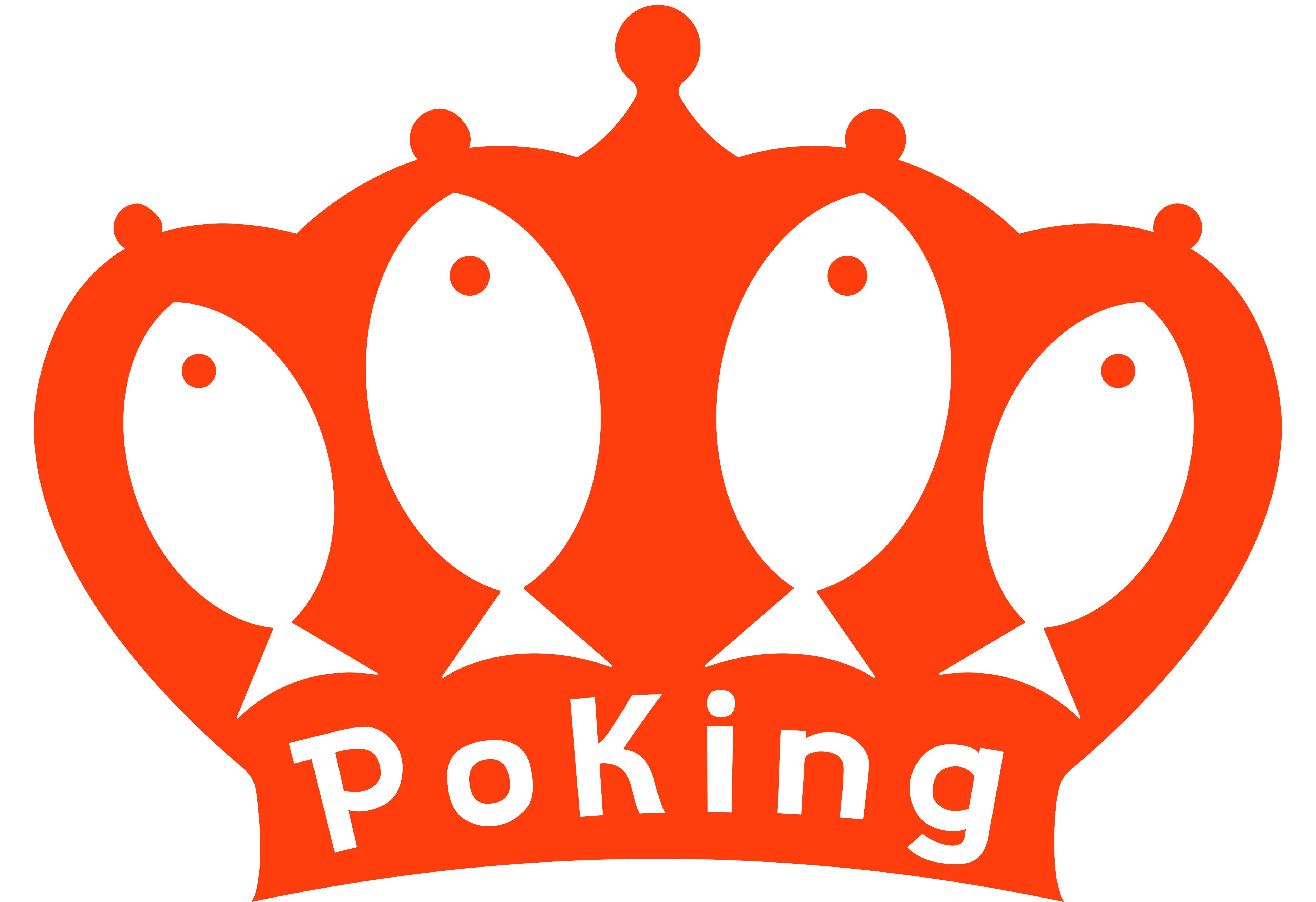 PoKe restaurant logo. Poking, King of Poke