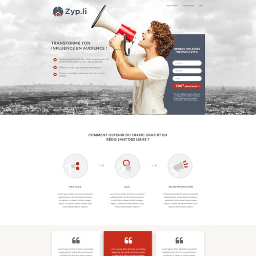 Landing page for French link shortener