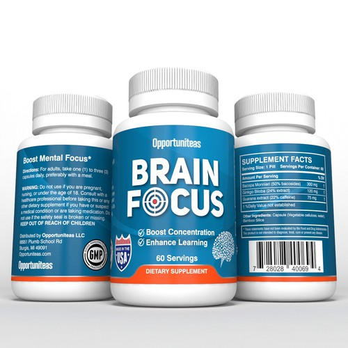 product label for Brain Focus supplement