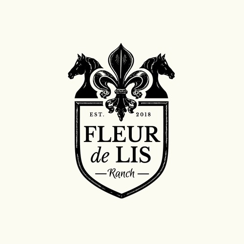 Fleur de lis design for horse ranch and wedding & events centre.