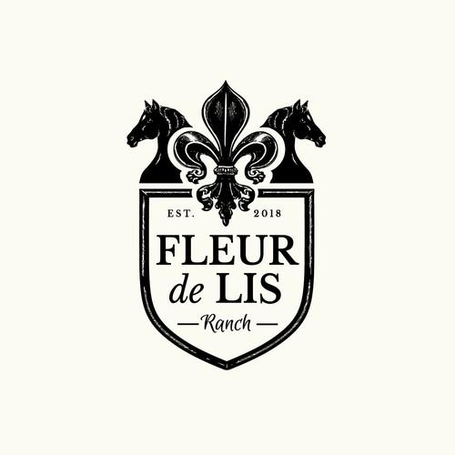 Fleur de lis design for horse ranch and wedding & events centre.
