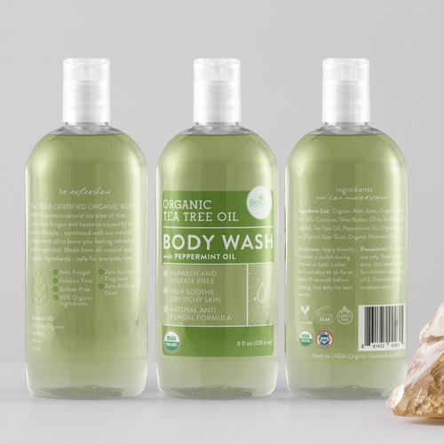 Organic Body Wash Clear Label