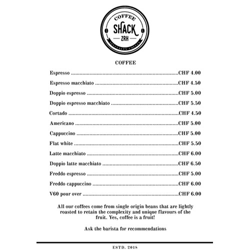 Coffee Shack Menu