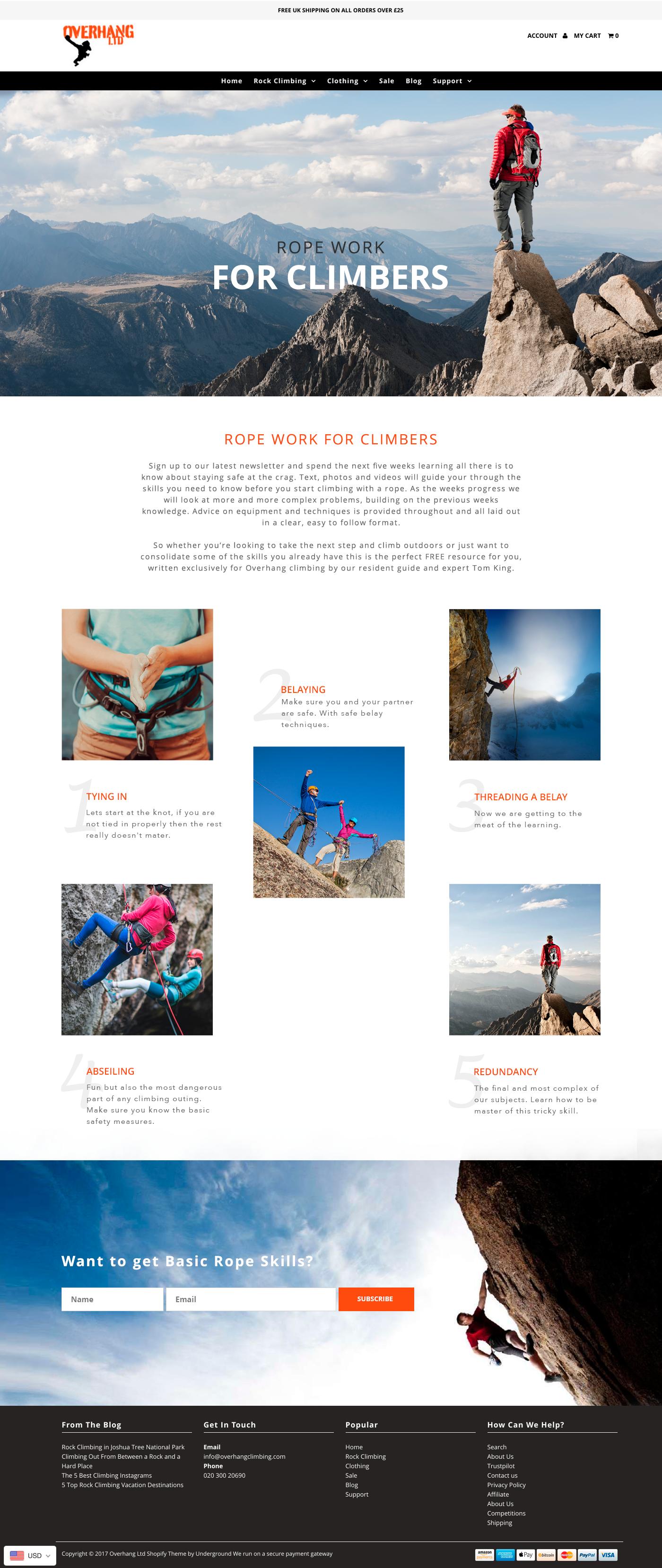 Rock Climbers Landing page