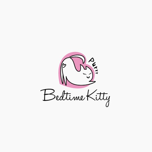 cute love cat logo