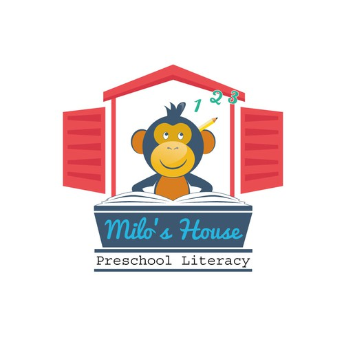 Create an eye-catching, professional logo for Milo's House Preschool Literacy