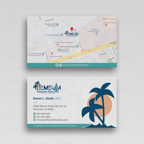 Design a fun business card for a pediatric dental office