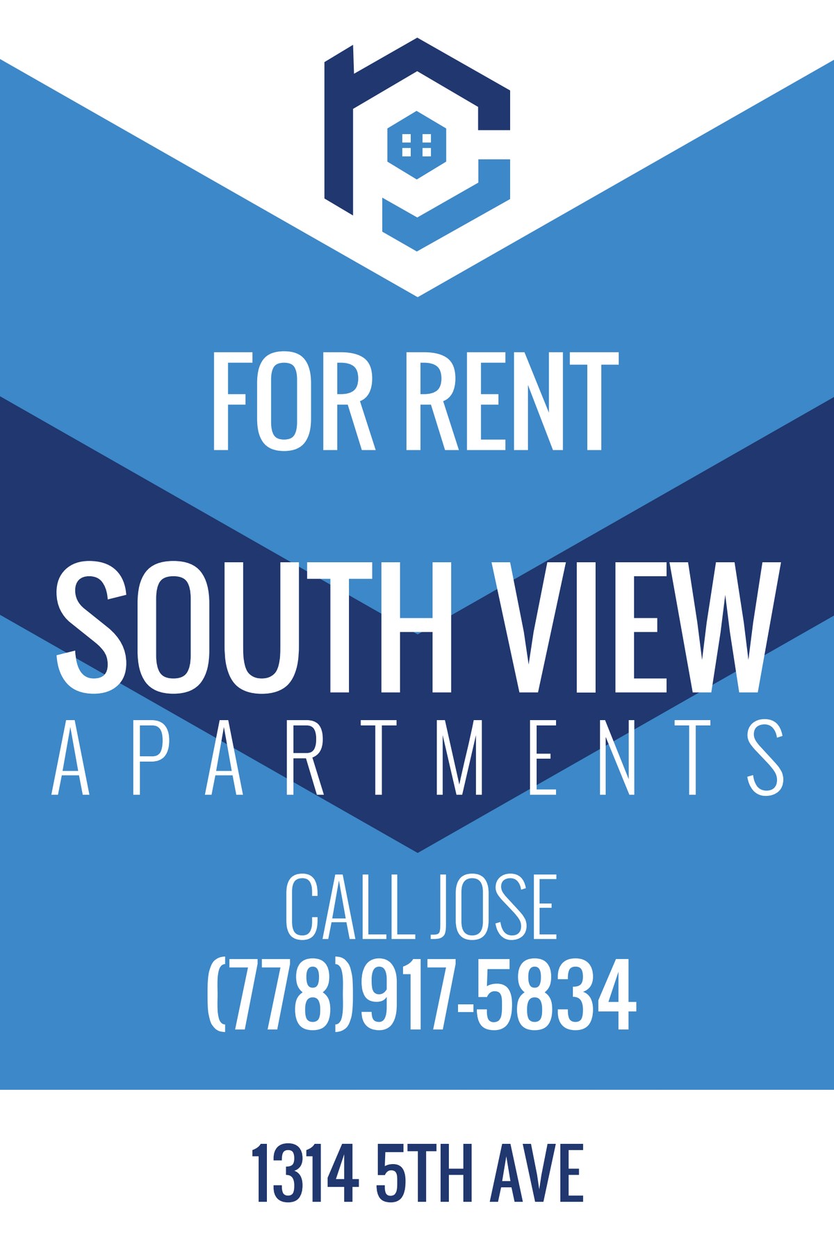 Rental sign for front lawn of apartment building