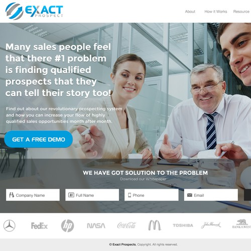 Landing design for ExactPropects, a company selling B2B Product