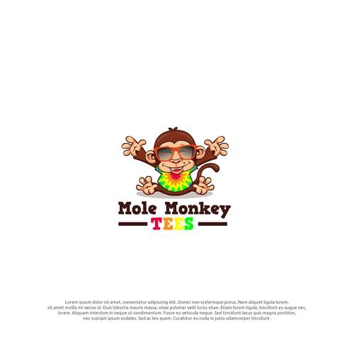 monkey with tie die
