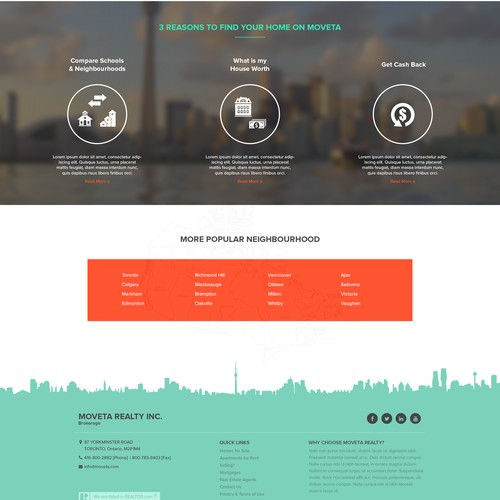 Homepage design for Canadian real estate business
