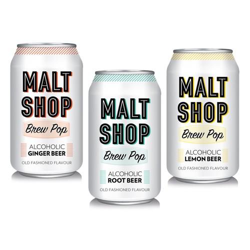 Design for vintage/retro style Alcoholic Soda line