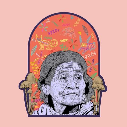 Illustration/Shirt design for fellow psychonauts and to honor María Sabina & psilocybin.