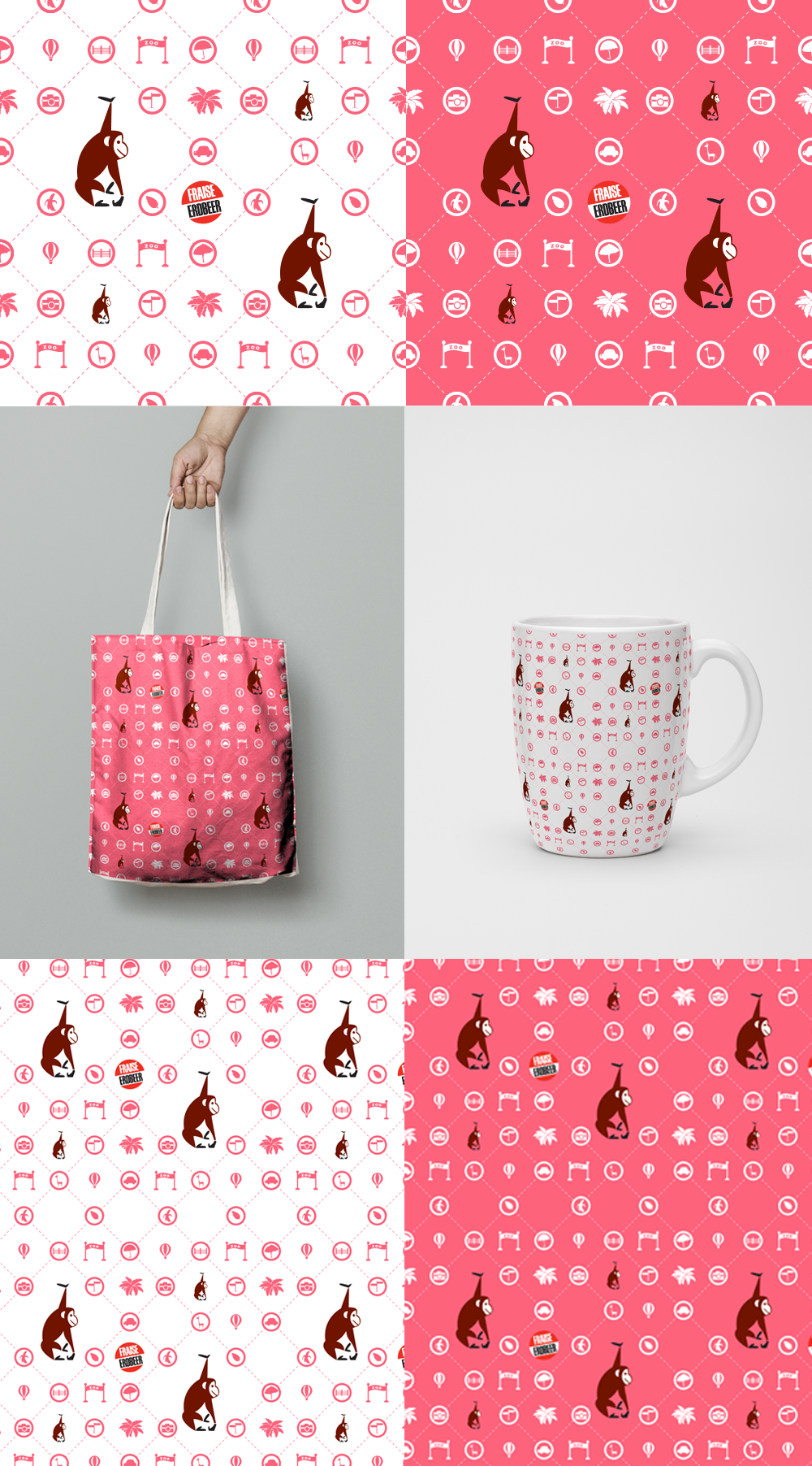Seamless Pattern / Cart pattern for kids / Monkey & Bear