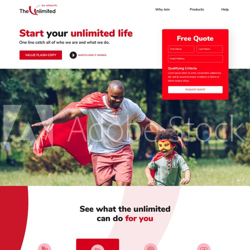 Website design concept for theunlimited.co.za