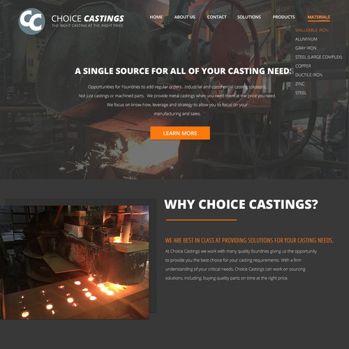 Landing Page Concept for Choice Castings